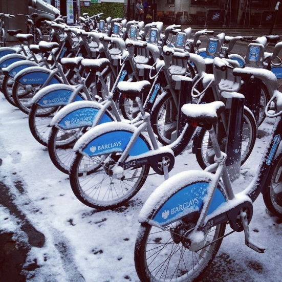 barclays bikes snow